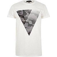 Weißes Triangel-T-Shirt mit Camouflage-Muster