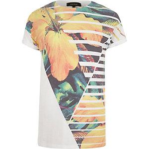 Orange floral print t-shirt
