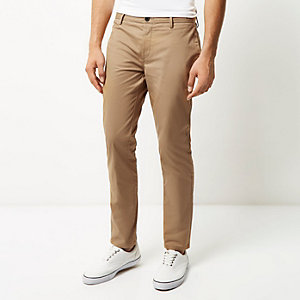 Tan slim chino trousers
