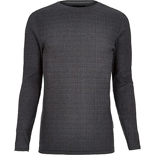 T-shirt gris côtelé ajusté à manches longues