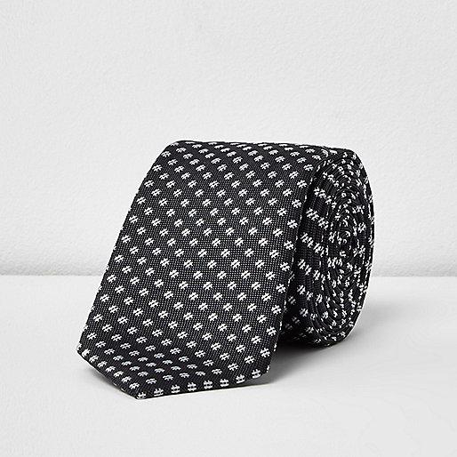 Cravate imprimé croisillons anthracite