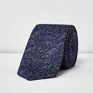 Blue textured print smart tie
