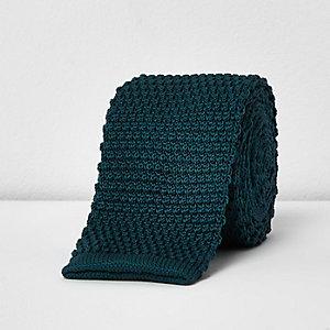 Teal knit tie