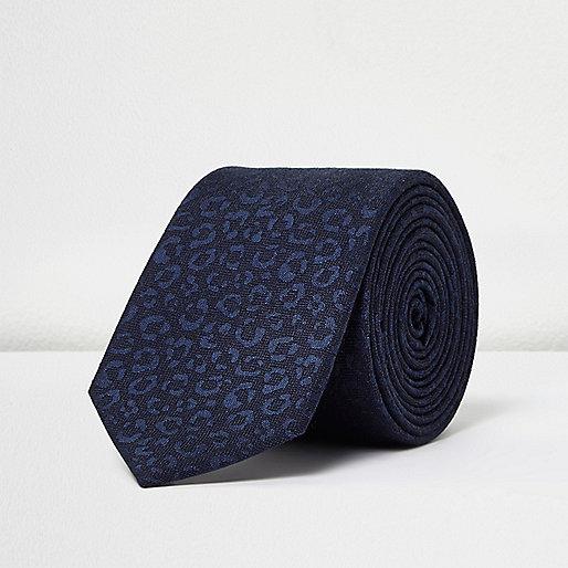 Teal leopard print tie