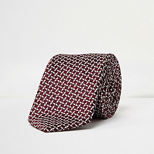 Red silk geometric print tie
