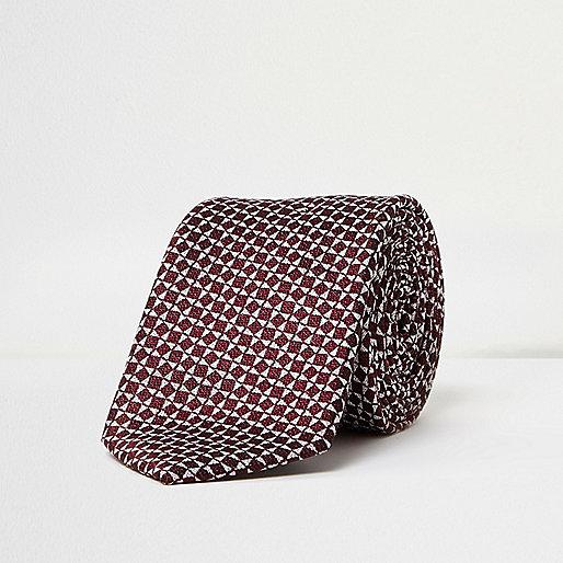 Red silk geometric print tie