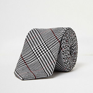 Grey checked tie