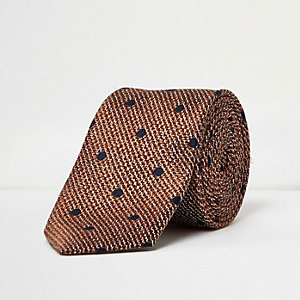 Orange spot silk tie