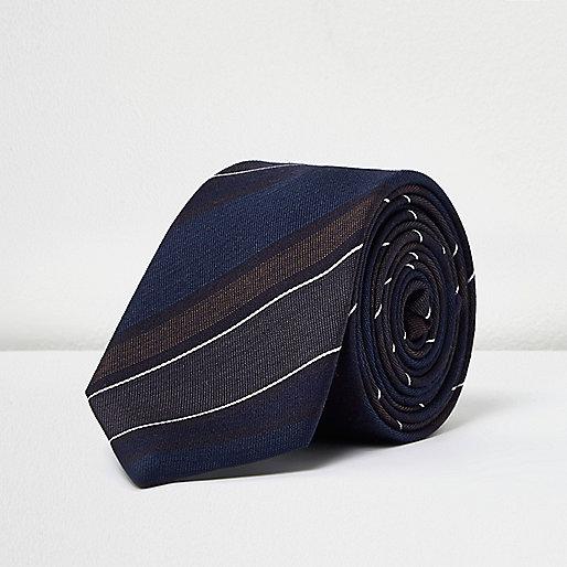 Cravate rayée bleu sarcelle