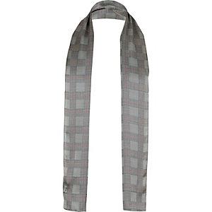 Grey silk tartan formal scarf