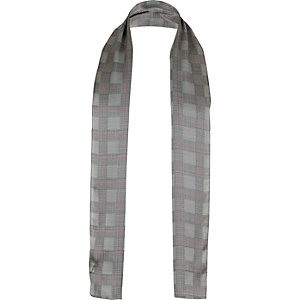 Grey silk plaid formal scarf