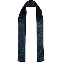 Dark blue floral silk formal scarf