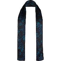 Écharpe en soie bleu foncé à fleurs