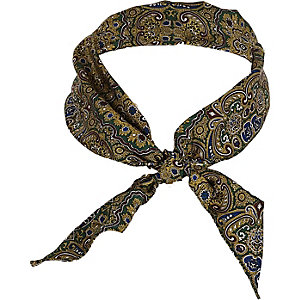 Green paisley print neck scarf