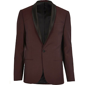 Red wool skinny suit jacket