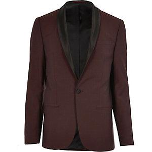 Red wool skinny suit jacket