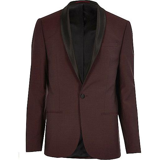 Veste de costume en laine rouge cintrée