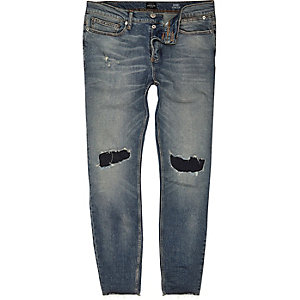 Sid – Skinny Jeans in blauer Waschung im Used-Look