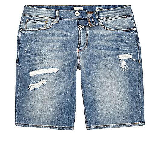 Light wash distressed skinny denim shorts