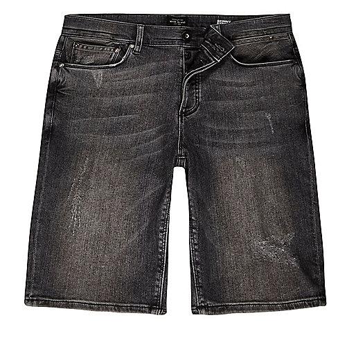 Short en jean délavage gris usé coupe skinny