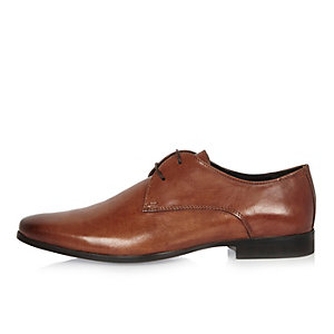 Brown leather smart derby shoes
