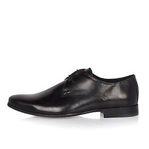 Black leather smart derby shoes