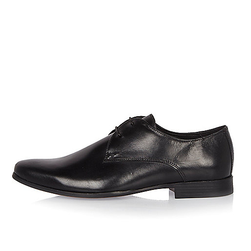 Black leather smart derby shoes