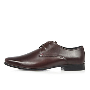 Dark red leather derby shoes