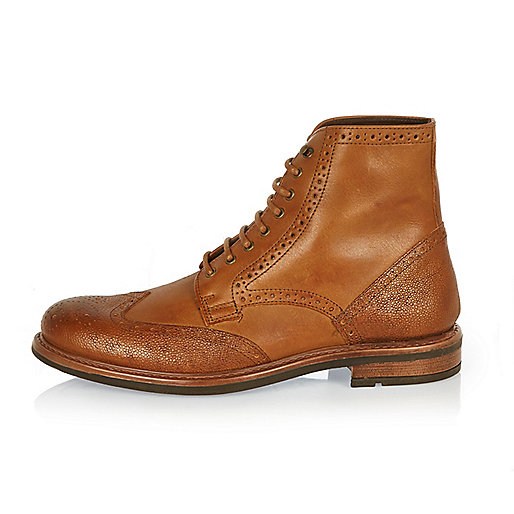 Bottines Richelieu en cuir fauve