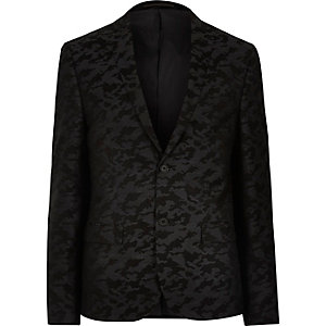Black camo skinny fit suit jacket