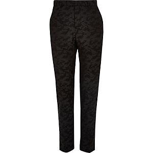 Schwarze Skinny Anzugshose mit Camouflage-Muster