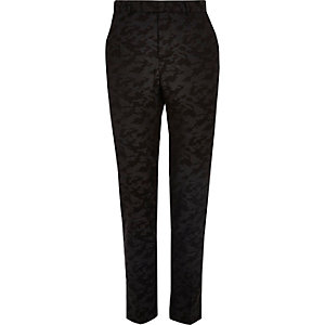 Black camo print skinny suit pants