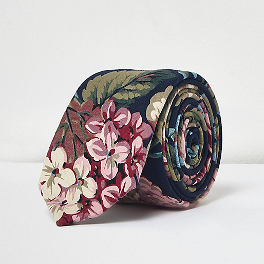 Cravate imprimé grosses fleurs bleu marine