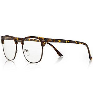Brown flat top glasses