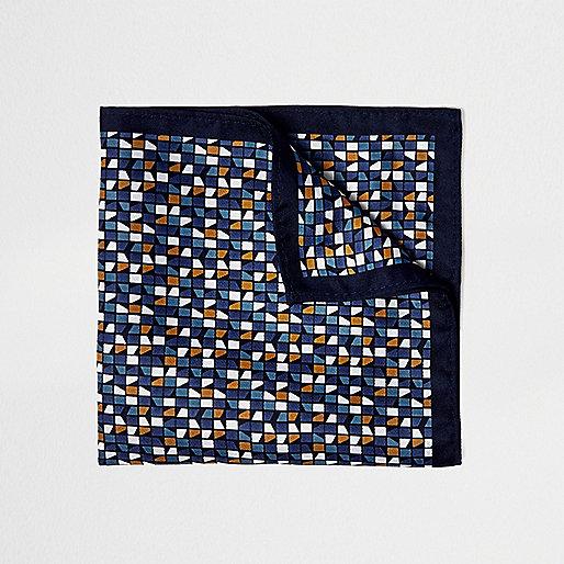 Blue geometric print pocket square