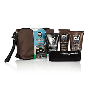 Brown Mancave wash bag gift set