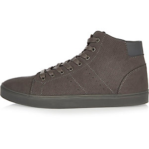 Dark grey perforated hi-top sneakers