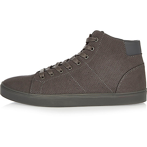 Dark grey perforated hi-top trainers