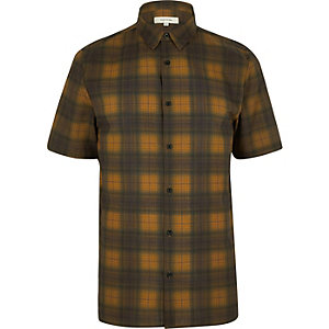 Yellow checked short sleeve shirt