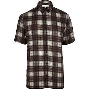 Brown check short sleeve shirt