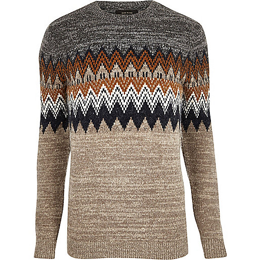 Brown fairisle knit jumper
