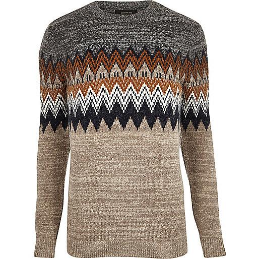 Brown fairisle sweater