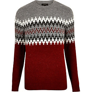 Red fairisle knit sweater