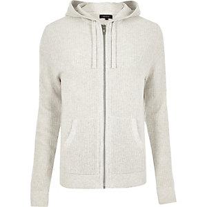 Ecru textured zip hoodie