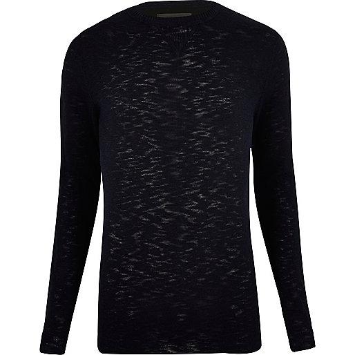 Dark blue crew neck sweater