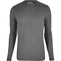Dark grey chunky ribbed muscle fit top