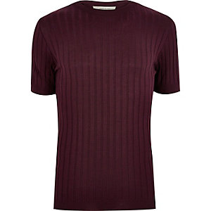 Dark red chunky ribbed muscle fit T-shirt