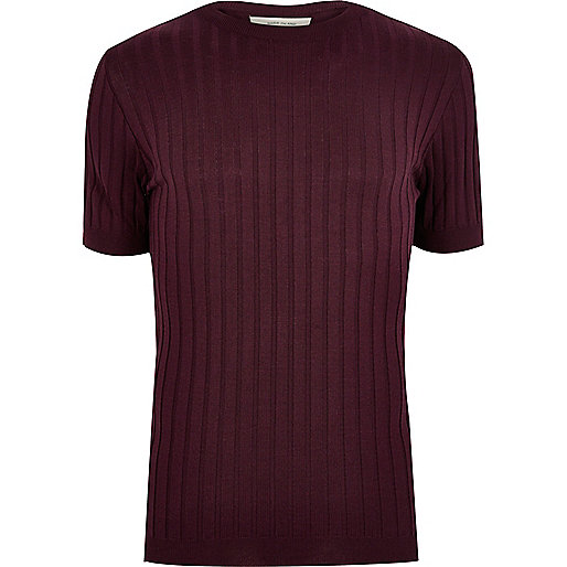 T-shirt à grosses côtes rouge foncé coupe ajustée