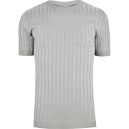 T-shirt à grosses côtes gris coupe ajustée
