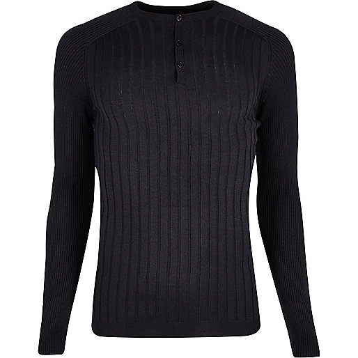Navy muscle fit henley long sleeve T-shirt